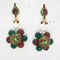 Meenakari Ball Earring with Cutting Drops (Red Green)