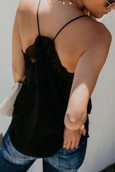 Casual Loose Sexy Lace Stitching Vest Blouse Light Blue m Black M, Black Lace Tops, Lace Camisole Top, Camisole Outfit, Chiffon Jacket, Jumpsuit Dress, Cami Tops, Ladies Dress Design, Minimalist Fashion