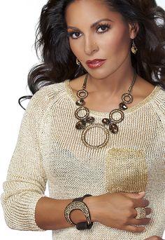"""OH MY 18""""-20""""  Necklace & Pierced Earring Set  BUCKLE BLING 8""""-8.5"""" Bracelet"""
