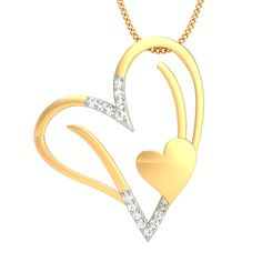 Buy initial 'V' #heart #diamond #pendant online at best price with 100% certified, hallmarked, free shipping, 30 day returns and life time exchange policy. Shop Now: https://www.goldnstone.com/initial-v-heart-diamond-pendant.html  #jewelry #gold #valentine #gift