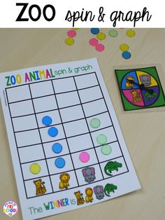 Zoo animal spin & graph for a zoo theme. Desert art FREEBIE. Prefect for preschool, pre-k, and kindergarten.