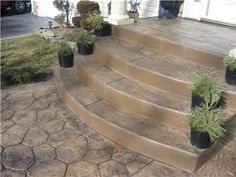 Steps and Stairs Daponte Construction Holtsville, NY Concrete Front Steps, Stamped Concrete Walkway, Cement Steps, Concrete Patio Designs, Brick Steps, Concrete Porch, Concrete Stairs, Patio Steps, Outdoor Steps