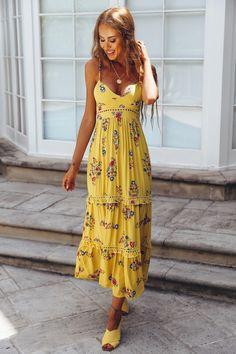 New Americana Midi Dress Yellow