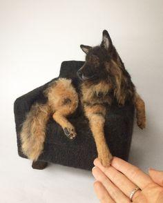 Needle felted German Shepherd, dog sculpture.