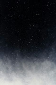 Clouds, space, and crescent moon