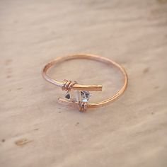 Rose Gold Herkimer Diamond Ring » 12k Filled or Non-Tarnish » Engagement, Boho, Bohemian Jewelry, Diamond, Quartz, Crystal, Gift for Her