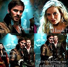 "Hook: ""Swan what the hell are you doing? You are depriving of a dashing rescue"" Emma: ""Well don't you know the only one who saves me is me"" Haha loved this scene and their playful banter"