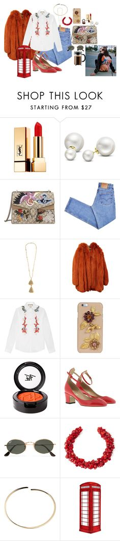"""Başlıksız #939"" by suana123 on Polyvore featuring moda, Yves Saint Laurent, Allurez, Gucci, Levi's, Isabel Marant, Dolce&Gabbana, Beauty Is Life, Valentino ve Ray-Ban"