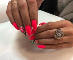Short Nail Designs - Learn with step-by-step tutorials Almond Acrylic Nails, Summer Acrylic Nails, Summer Nails, Neon Nails, Pink Nails, Fruit Nail Art, Wedding Nail Polish, Gel Nail Art Designs, Manicure E Pedicure