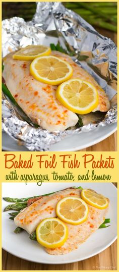 Foil Fish Packets with Asparagus and Tomato - The Weary Chef These healthy and easy fish packets are easy to make ahead and bake when you're ready for dinner!These healthy and easy fish packets are easy to make ahead and bake when you're ready for dinner! Healthy Recipes, Healthy Cooking, Fish Recipes, Seafood Recipes, Dinner Recipes, Healthy Eating, Cooking Recipes, Dessert Recipes, Tilapia Recipes