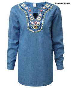 Floral Detail Tunic at Cotton Traders