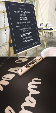 Hand drawn typography for a photographer displaying at Sydney's One Fine Baby Fair 2015. #type #chalkboard #liquidchalk #handdrawntype #typography