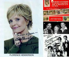 """R.I.P. - Florence Henderson  (February 14, 1934 - November 24, 2016) We are beyond shocked and deeply saddened to learn of the death of one of our all time favorite actresses and beloved TV icons. We had the huge honor of meeting her a few years ago when we were living in Las Vegas after her phenomenal one woman show! It was truly a moment we will never forget. She truly was the definition of """"A LOVELY LADY."""""""