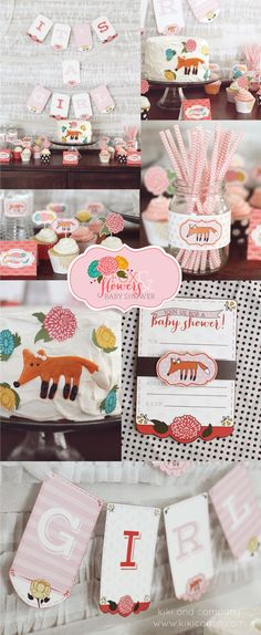 Fox and Flowers Baby Shower by Kiki and Company. LOVE every piece of this...the colors, the printables, that fox! Get these shower printables plus 15 others! #bestbabyshower