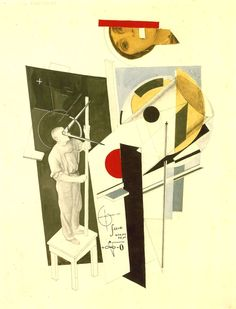 Tatlin at Work, El lissitzky. Great combination of abstract forms and recognizable objects. Both scientific / structural as well as strangely attractive (the head). Collages, Collage Art, Photomontage, Russian Constructivism, Avantgarde, Exhibition Display, Ex Machina, Art Database, Architecture Drawings