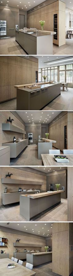 gorgeous pale blonde wood, stone and taupe kitchen - Grand Dining Bulthaup by Kitchen Architecture