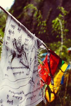 Prayer flags . Tibet