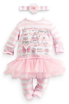 Next Girls Up to 1 Month Pink Fairy Tutu Sleepsuit Babygrow Headband Outfit Set