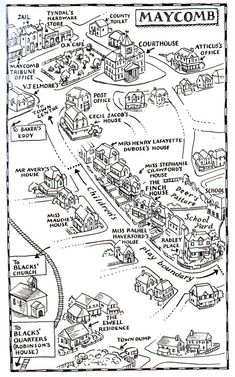 Map of Maycomb in To Kill A Mocking Bird by Harper Lee