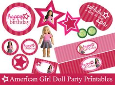 American Girl Doll inspired party printables including:  Circle Cupcake Toppers Circle Centerpiece Decals Doll Sized Spa Masks Doll Sized                                                                                                                                                                                 More