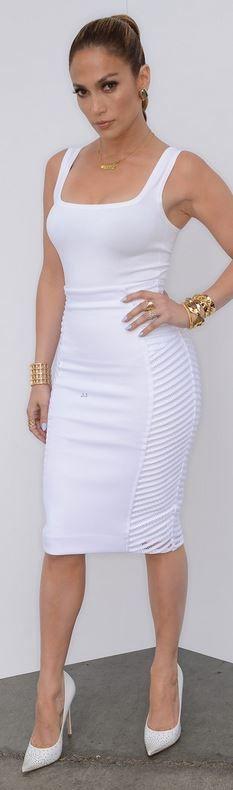 Jennifer Lopez: Shirt – Azzedine Alaia  Skirt – Milly  Shoes – Jimmy Choo  Earrings – Vhernier  Bracelets – Jennifer Fisher  Necklace – Jane Basch