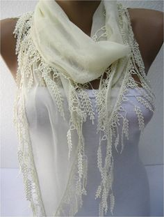 Beige scarf ,women scarves - guipure -  fashion scarf - gift scarves -Fashion accessories- for her- christmas gift
