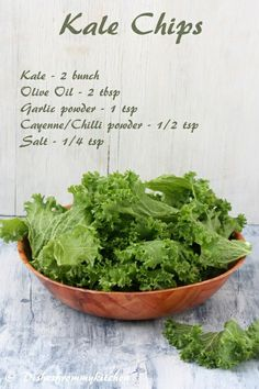 Kale Chips | preheat oven to 225 degrees & bake for 40 minutes.