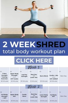 Jumpstart your fitness goals with this FREE 14-Day Workout Plan and Fitness Challenge! This full body workout plan includes daily guided workout videos you can follow along with at home. All you need is a set of dumbbells and 30 minutes a day for 2 weeks! From barre to strength training to HIIT cardio, there's something for everyone! 14 Day Workouts, Upper Body Hiit Workouts, Full Body Workout Plan, Cardio Abs, At Home Workout Plan, Workout Schedule, Postpartum Workout Plan, Postnatal Workout, Shred Workout
