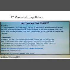 Lowongan Kerja PT. Venturindo Jaya Batam (01/12/2020) Batam
