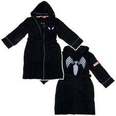 11f35600be Amazon.com  Spiderman Black silver Hooded Bathrobe  Sports   Outdoors