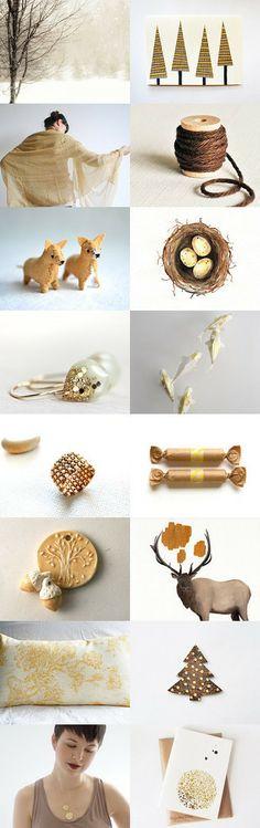 golden christmas #etsytreasury by Barbara on #Etsy #bestofetsy #christmas #gifts #golden #gold
