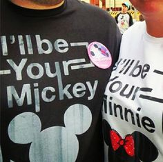 Our matching Disney shirts and Just Engaged buttons.