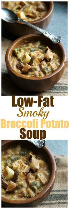 Low-Fat Smoky Broccoli Potato Soup. Vegan dairy-free gluten-free oil-free broccoli potato soup with a smoky flavor and ready in less than an hour.