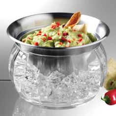 Stainless steel bowl on ice to keep dips and other food items cold. For buffet / outdoor party