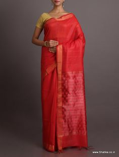 Shikha Ravishing Red With Self-Design Pallu #BhagalpuriSilkSaree
