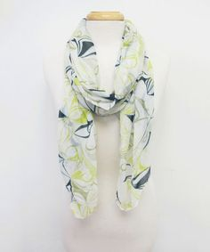 Loving this Green & White Abstract Scarf on #zulily! #zulilyfinds