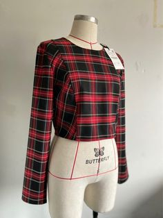 Online Thrift, Black Crop Tops, Slow Fashion, Tartan, Boutique, Long Sleeve, Red, Clothes, Women