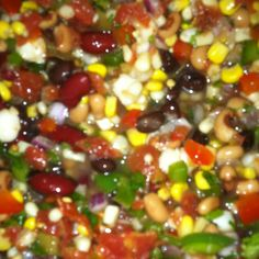 "TEXAS CAVIAR. Best. Salsa. Ever. 1 can , drained/rinsed (not rotell/chiles), black beans, red beans, hominy, corn, shoepeg corn, black eyed peas, 3-rotell (1 hot), diced green chiles, small diced red onion, diced red and green pepper, diced bunch green onions, 1/3 bunch chopped cilantro, 1-2 tbsp mixed garlic, 2-3 diced jalepenos (more/less to taste), 8 oz zesty Italian dressing. Mix well.  Chill.  Serve with chips or nachos. Get low sodium cans and ""free"" Italian for lower cal salsa."