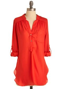 Pam Breeze-ly Tunic in Tomato - Red, Solid, Buttons, Pockets, Long Sleeve, 3/4 Sleeve, Long, Casual, Sheer, Best Seller, Button Down, V Neck, Variation