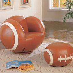 For the football lovers... football chair and ottoman. #sports #furniture