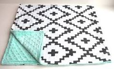 grey and mint baby blanket - Google Search