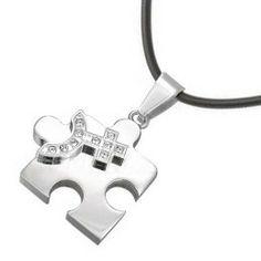 Female CZ Bling Puzzle Steel & Venus Symbol Lesbian Pride Pendant - Lesbian Pride Necklace