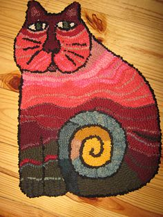 Cat rug I hooked for my sister.
