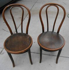 Attractive Pair Vintage Bent Wood Cafe Chairs Wood Seats One Marked Thonet .