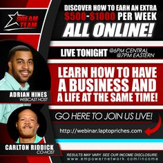 This webinar is going to rock! If you want to know how you can profit online with a simple, clear plan then you want to drop everything tonight and register to join us! - http://webinar.laptopriches.com