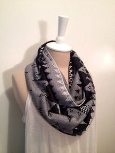 Black and Gray Infinity Scarf by CapurroCustoms on Etsy, $15.00