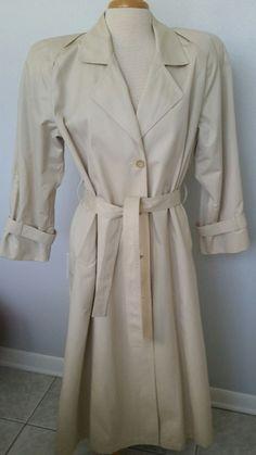 Vtg. 80s Womens  Beige London Fog Chic Rare Style Maincoats Trench Coat Sz 14 M  #LondonFog #Outdoor