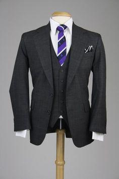 Vintage Charcoal Check Plaid Wool 3 Piece Suit 41 S Monkey Suit