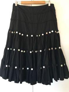 Summer-Black-Bohemian-Gypsy-Skirt-Abalone-Psychic-Hippie-Costume-Festival-Size-M