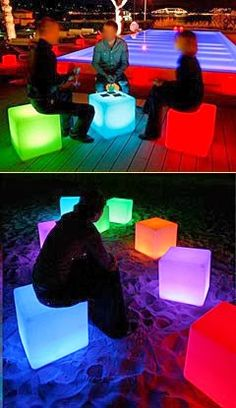 LED CUBE Furniture Chair Table Glows and is rechargeable Neon Birthday, 18th Birthday Party, Glow In Dark Party, Cube Furniture, Dark Furniture, Glow Table, Disco Party, 80s Party, Neon Glow